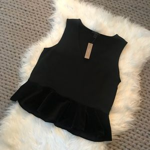 {J. Crew} Black Peplum V-Neck with Velvet Trim